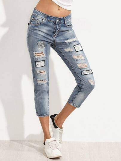 Blue Ripped Jeans With Patch