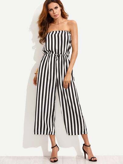 Vertical Striped Drawstring Bandeau Jumpsuit