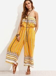 Yellow Vintage Print Ruffle Bandeau Jumpsuit