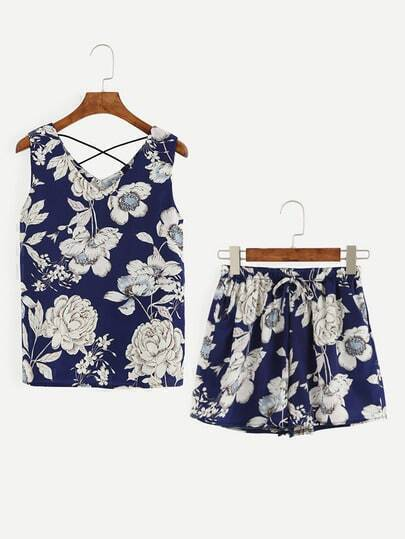 Blue Flower Print Sleeveless Top With Shorts