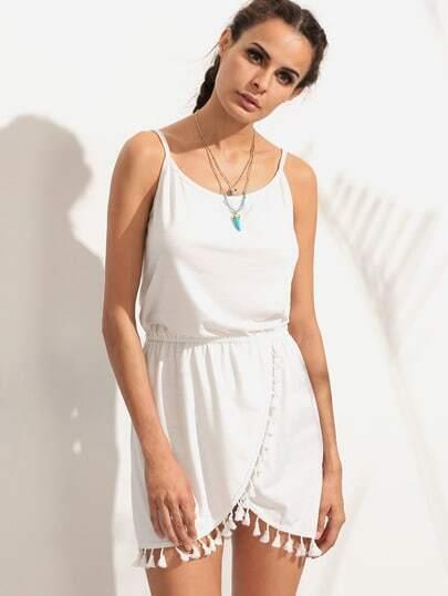 White Tassel Trim Wrap Cami Dress