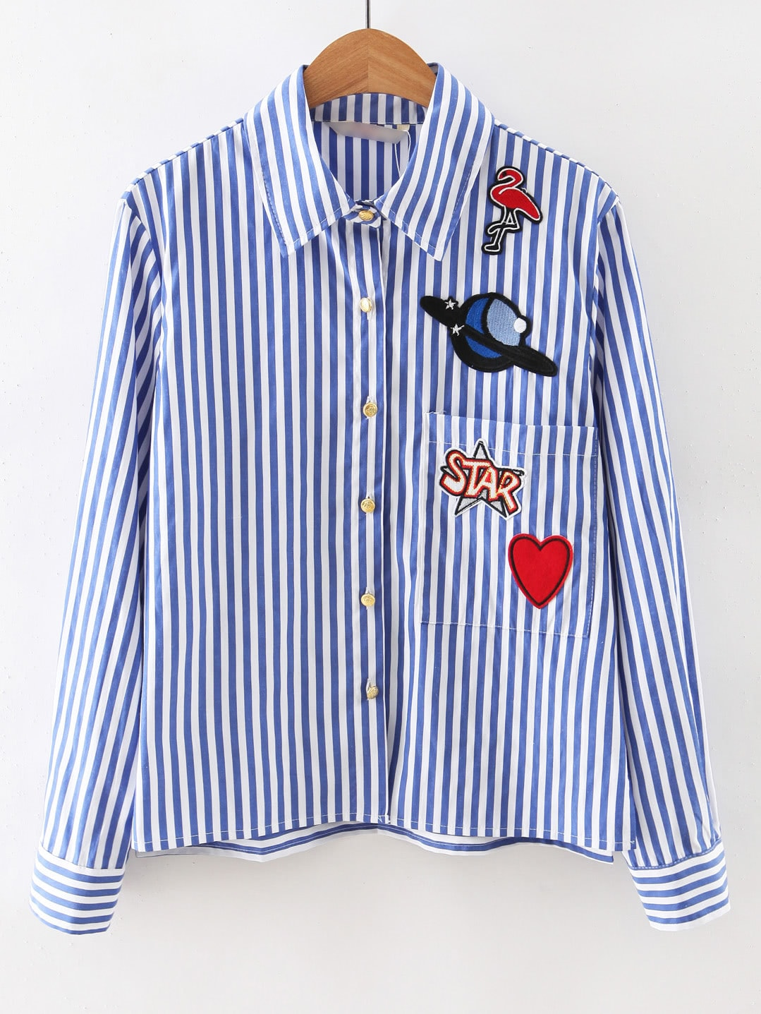 Contrast Striped Embroidered Patches Shirt back pleat embroidered striped shirt