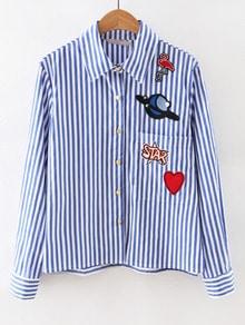 Blue Long Sleeve Applique Stripe Blouse