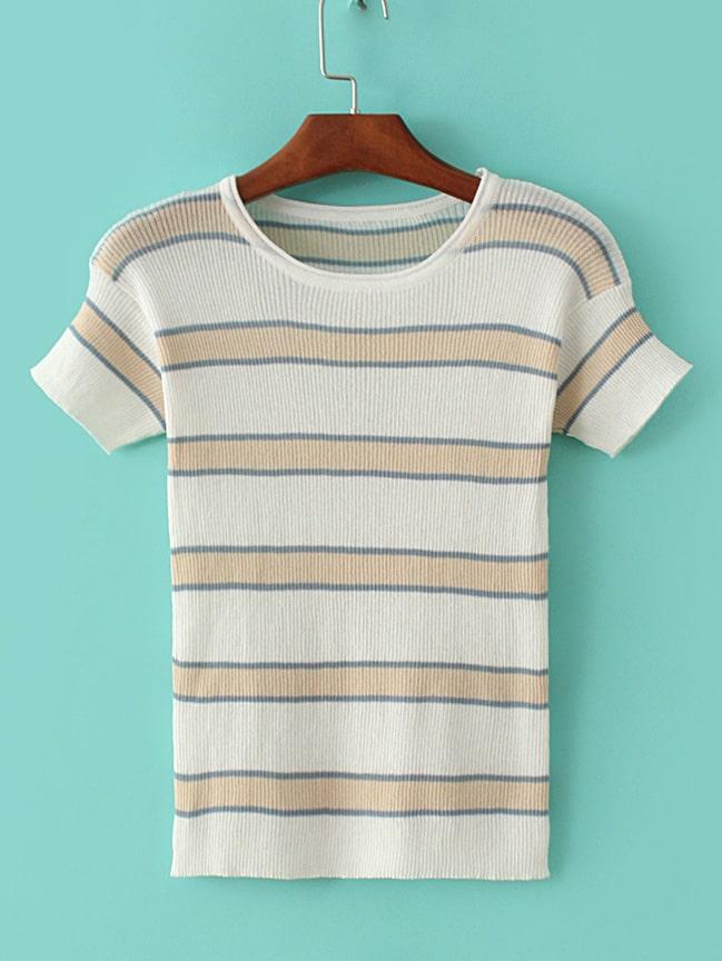 Фото White Elastic Cuff Stripe Tight T-shirt. Купить с доставкой