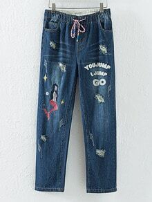 Blue Mermaid Embroidery Ripped Jeans