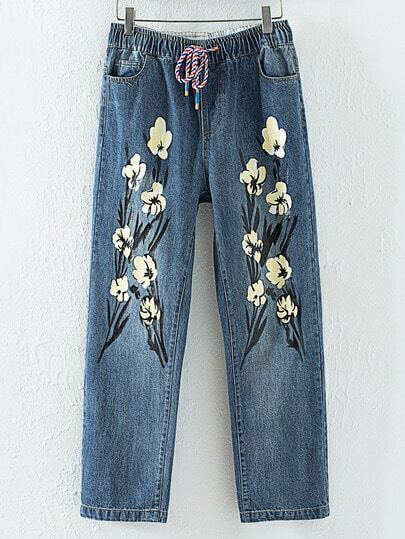 Blue Printed Drawstring Roll-up Jeans