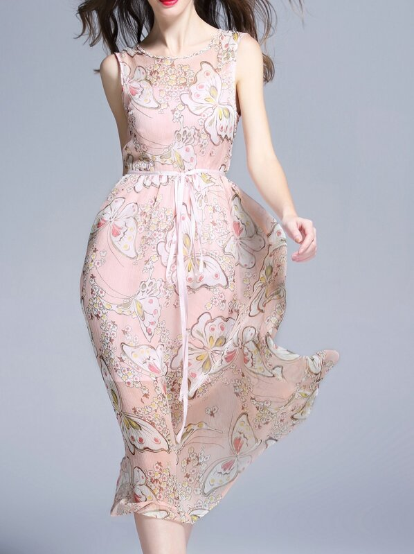 Pink Butterfly Print Tie-Waist Dress, null