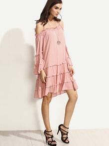 Pink Spaghetti Strap Multilayer Ruffle Trim Dress