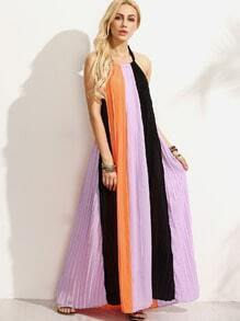 Colorblock Halter Backless Maxi Dress