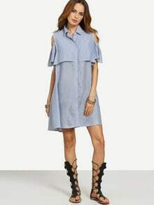 Blue Striped Turndown Collar Button Dress