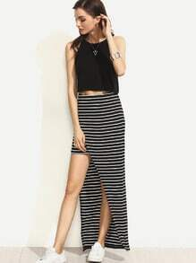 Black and White Striped Wrap Skirt