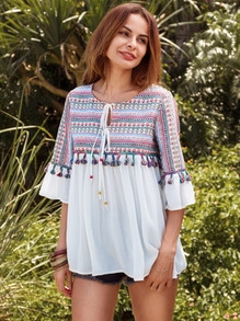 Embroidered Tassel Trim Tie Bell Sleeve Blouse