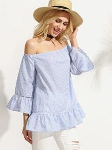 Blue Striped Off The Shoulder Ruffle Blouse