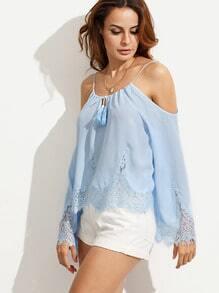 Blue Cold Shoulder Lace Hem Long Sleeve Blouse