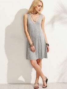 Grey Cutout Backless Sleeveless Dress