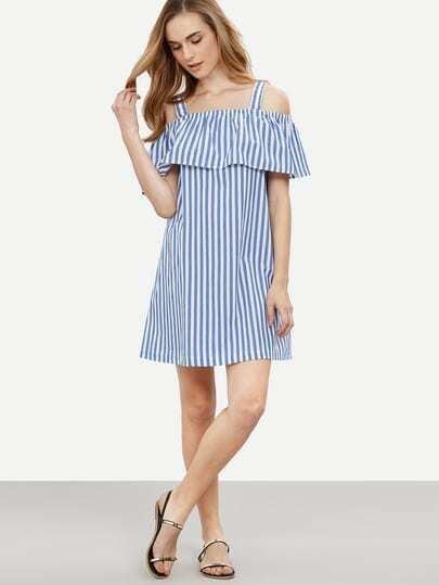 Blue Striped Cold Shoulder Shift Dress