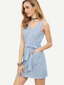 Blue Striped V Neck Tie Waist Sleeveless Dress