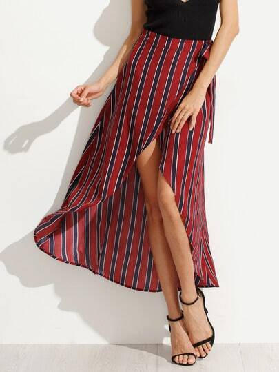 Multicolor Striped Bow Waist Skirt