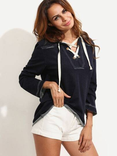 Grommet Lace-up Hooded T-shirt