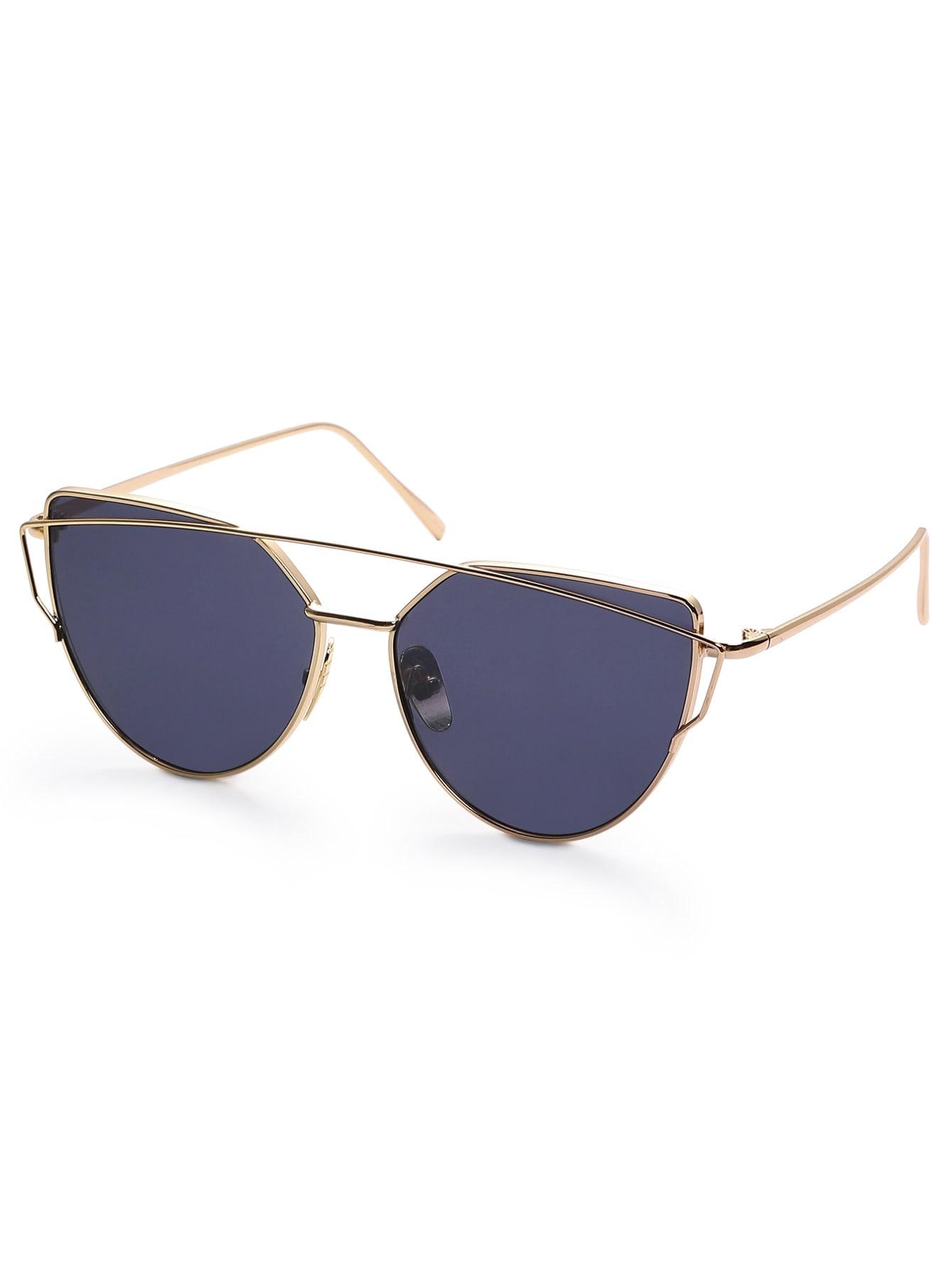 Gold Frame Black Lenses Sunglasses : Gold Frame Black Reflective Lenses Sunglasses -SheIn ...