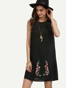Black Sleeveless Flower Embroidered Shift Dress