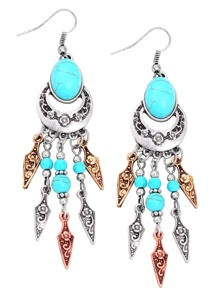 Silver Turquoise Embellished Arrow Fringe Earrings