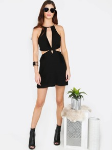 Cut Out Keyhole Dress BLACK