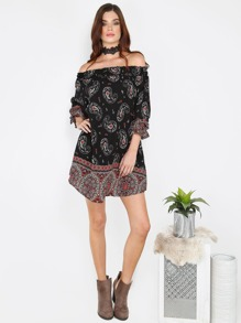 Boho Inspired Off Shoulder Dress BLACK