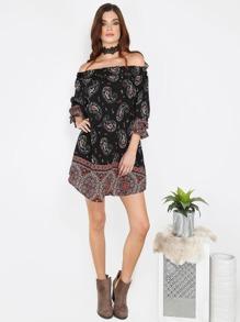 Boho Inspired Off Shoulder Dress BLACK