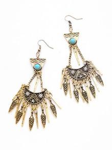 Metal Tassel Turquoise Embellished Boho Drop Earrings