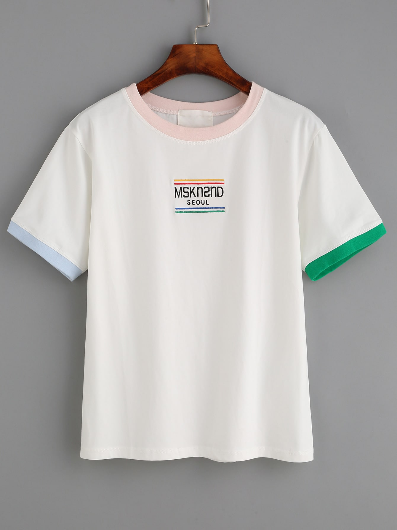 White Letter Embroidered Contrast Trim T-shirtWhite Letter Embroidered Contrast Trim T-shirt<br><br>color: White<br>size: one-size