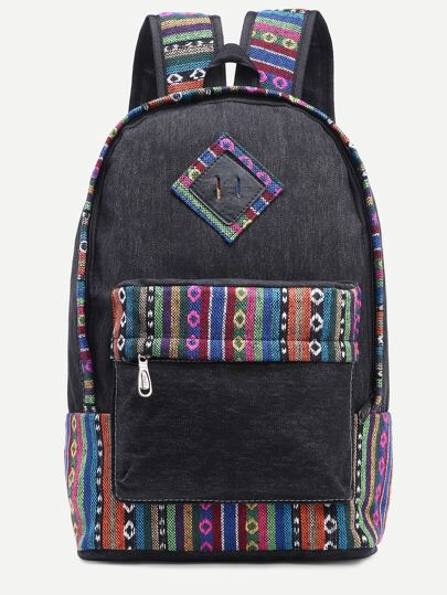 Black Striped Embroidered Tape Detail Canvas Backpack