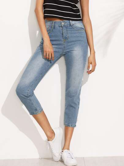 Blue Bleach Wash Skinny Ankle Jeans