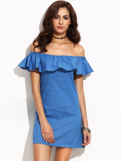 Frill Bardot Neckline Dress