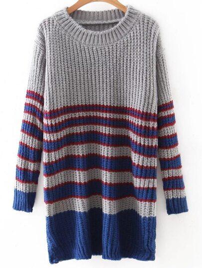 Grey Round Neck Stripe Long Knitwear