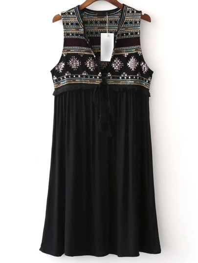 Black Self Tie Embroidery Sequined Vest