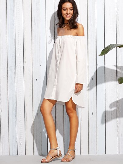 White Off The Shoulder Buttons Blouse