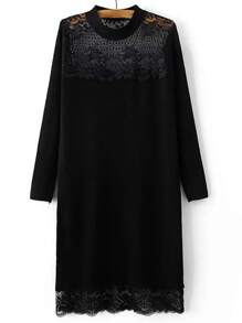 Black Band Collar Lace Long Sweater