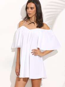 White Crisscross Cold Shoulder Bell Sleeve Dress