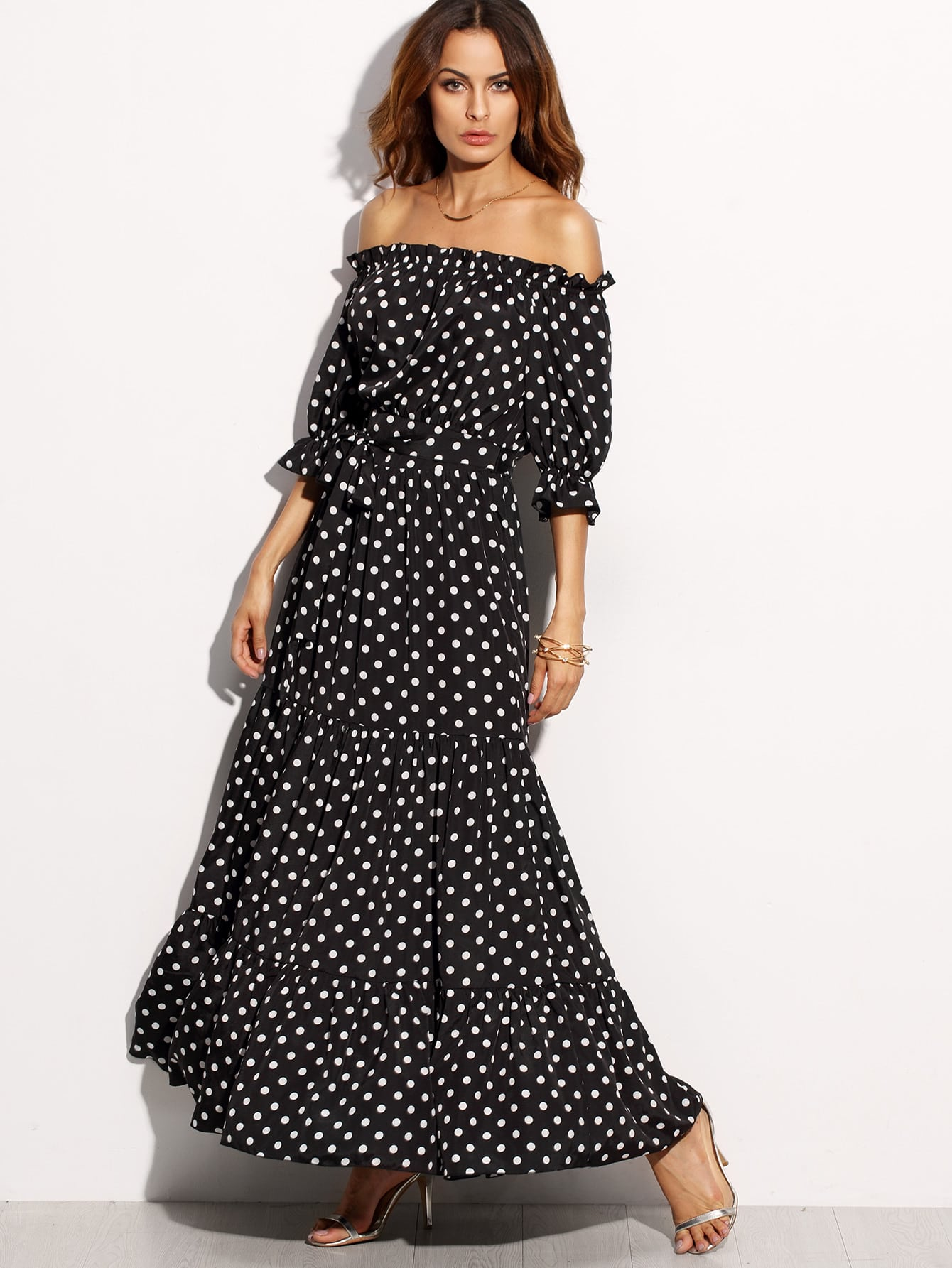 Polka Dot Bardot Neckline Tie Waist Dress dress160726504