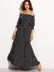 Polka Dot Off The Shoulder Tie Waist Maxi Dress