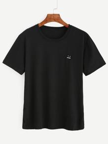 Camiseta bordado emoji - negro