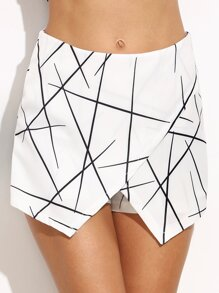Geometric Print Wrap Shorts