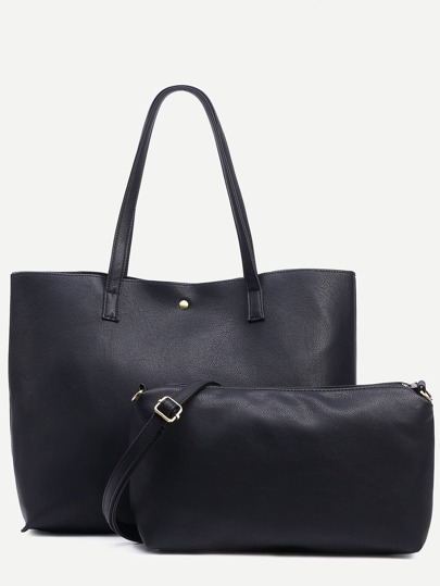 Black Snap Button Top Tote Bag With Crossbody Bag