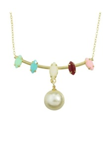 Colorful Enamel Hanging Pearl Necklace