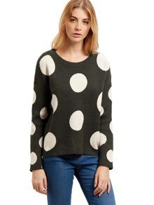 Dark Grey Round Neck Polka Dot Sweater
