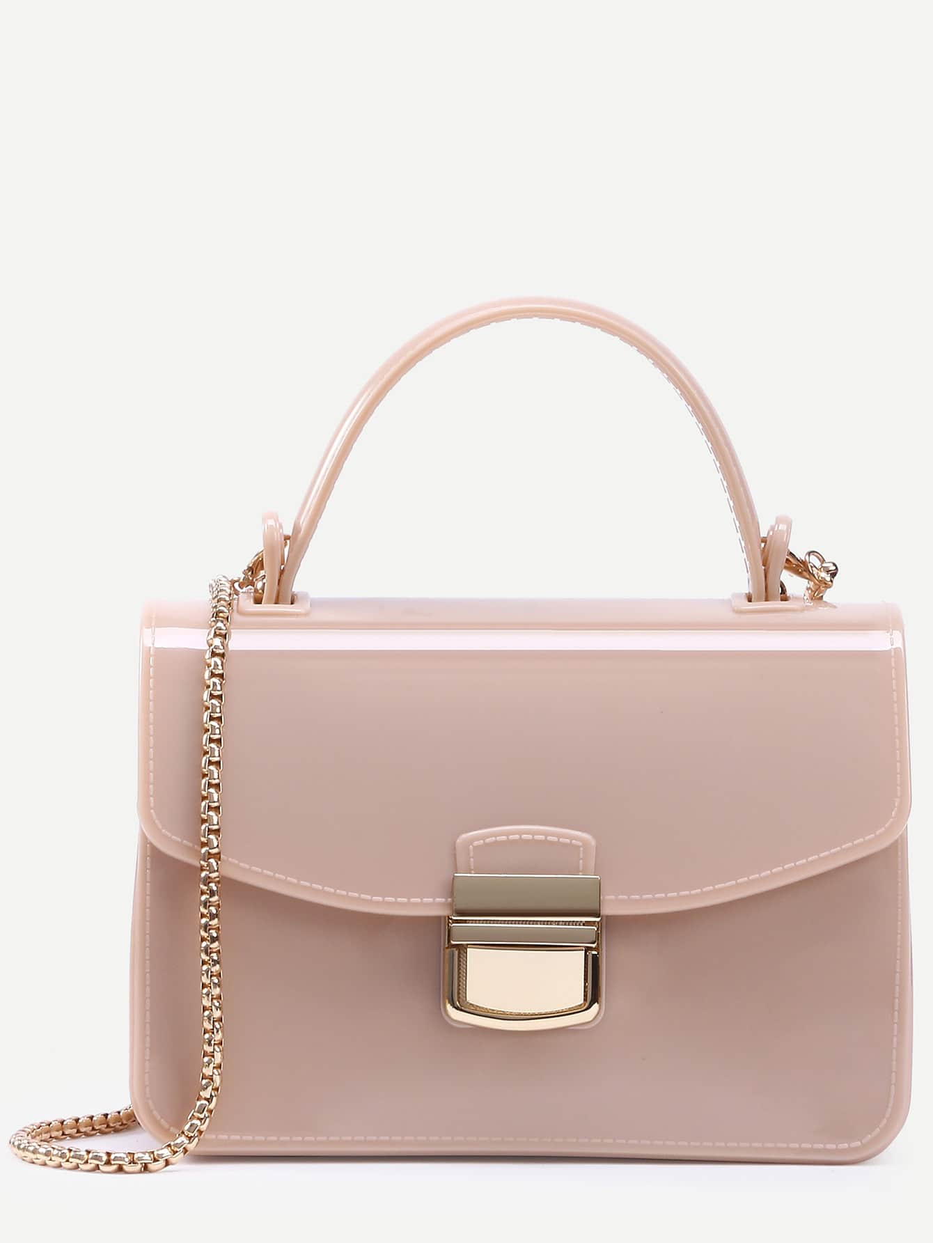 Apricot Pushlock Closure Plastic Handbag With Chain Image