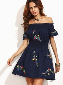 Navy Off The Shoulder Embroidery Girdling Dress