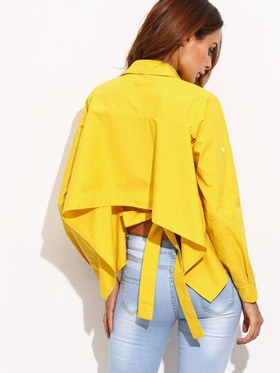 Yellow Roll Tab Sleeve Tie Back High Low Blouse