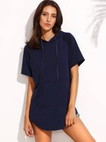 Navy Short Sleeve Pocket Hooded T-shirt